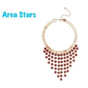AREA STARS Red Gold Collar Statement Necklace NWT